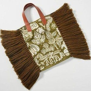 NEW Anthropologie Caissie Fringed Tote Bag Beaded
